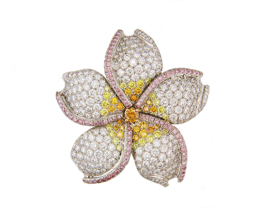 Diamond flower brooch by Oscar Heyman