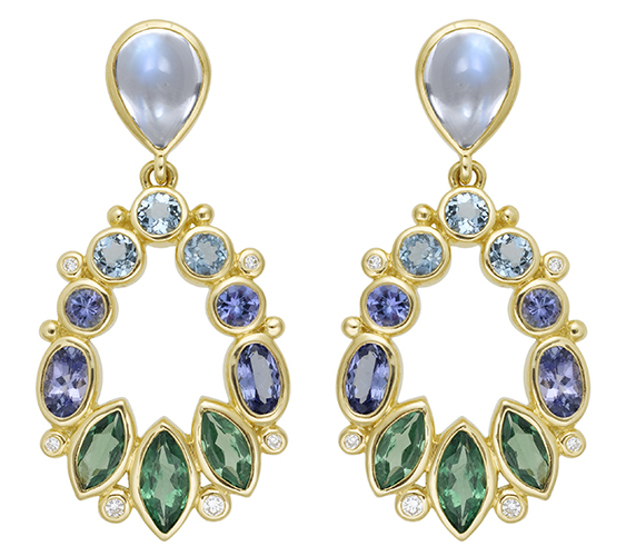 18k gold and gemstone earrings by Temple St. Clair