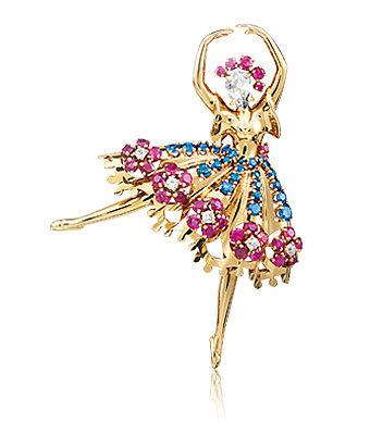 Брошь с балериной из золота с бриллиантами, сапфирами и рубинами