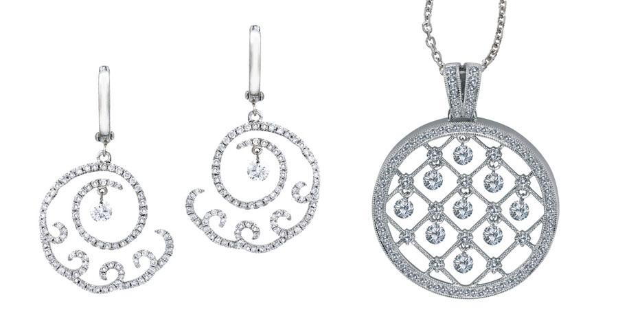 Серьги с бриллиантами, кулон с бриллиантовыми подвесками