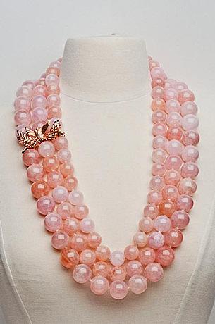 Крупное ожерелье Love Doves из бусин морганита