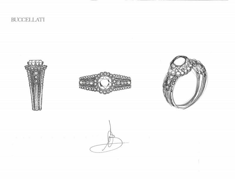 Набросок обручального кольца из новой коллекции Buccellati, которая будет представлена в марте
