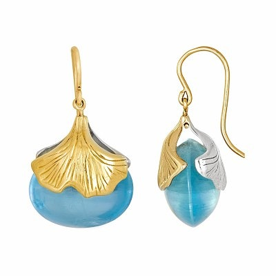 Двусторонние серьги из серебра и 18-каратного золота «Гинкго» с аквамаринами весом 54,76 карата, Бабетта Шеннан