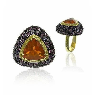 Кольцо из 18-каратного золота с огненным опалом, бриллиантами и сапфирами, Станислав Дрокин