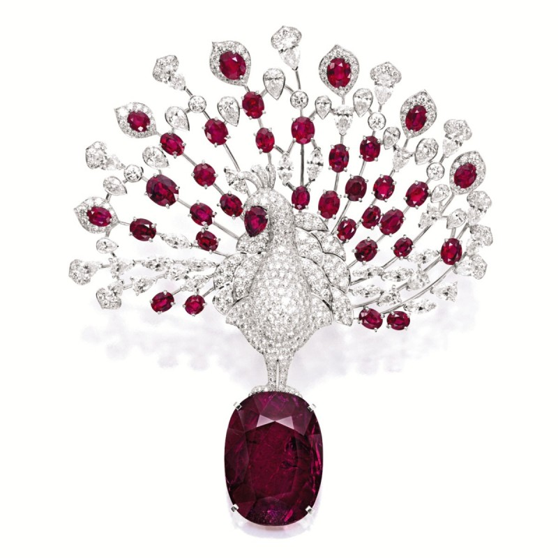 Lot-1924-UNIQUE-RUBY-AND-DIAMOND-PEACOCK-BROOCH-CARTIER