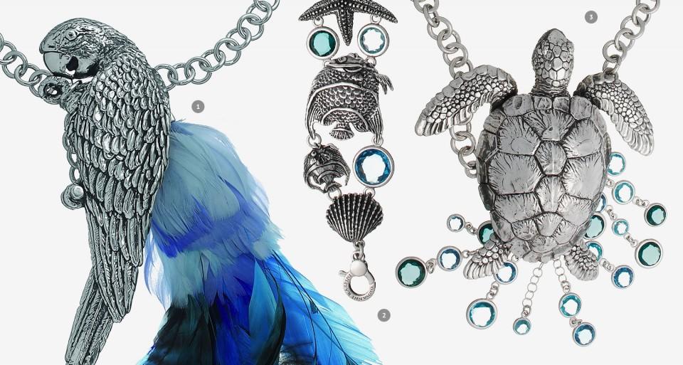 Giovanni Raspini: Jungle Blue Parrot, Bracciale Aqua Coral, Collana Tortuga