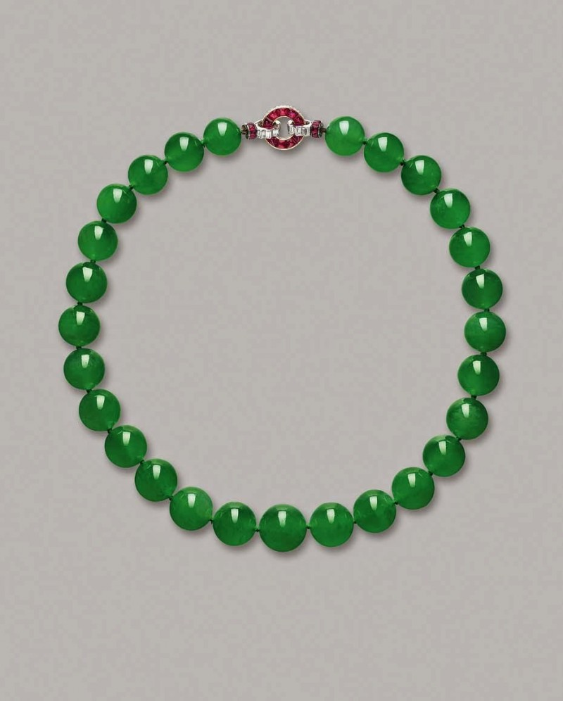 1.The Barbara Hutton Mdivani Jadeite Bead Necklace