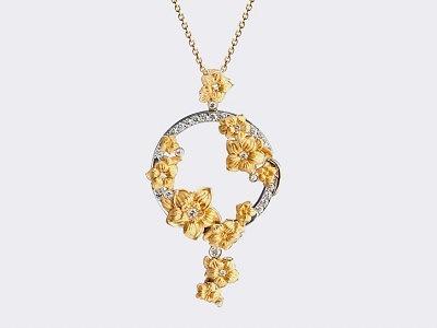 Подвеска Emperatriz maxi из белого и желтого золота с бриллиантами