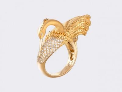Кольцо Garzas  medium из желтого золота с бриллиантами.