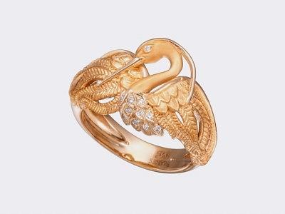 Кольцо Garzas mini из желтого золота с бриллиантами.