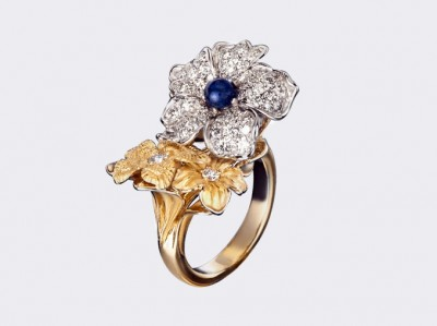 Кольцо Emperatriz maxi из белого и желтого золота с сапфирами и бриллиантами