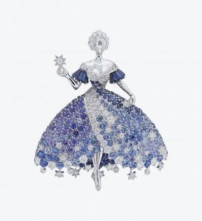 Брошь Moon Dress с бриллиантами, голубой шпинелью, синими и фиолетовыми танзанитами, а также синими и пурпурными сапфирами