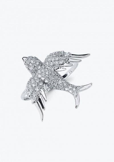 Кольцо из белого золота с бесцветными бриллиантами