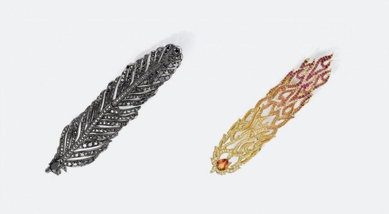 Кольца в виде пера ворона и огненного пера из коллекции, посвященной фильму «Малефистента»