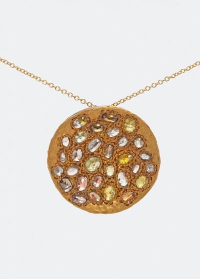 Колье из желтого золота с разноцветными бриллиантами
