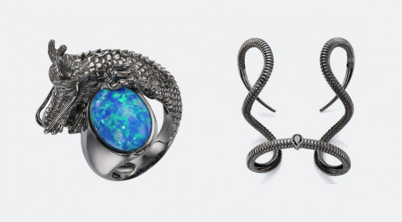 Браслет в форме изогнутых рогов и кольцо с крупным опалом от Crow's Nest Fine Jewelry