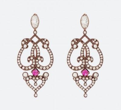 Золотые серьги Marquise с бриллиантами и рубинами из коллекции Relic.