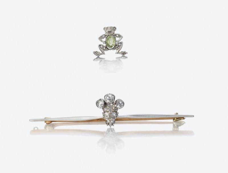 Лягушка из бриллиантов и зелёного перидота и бриллиантовая брошь