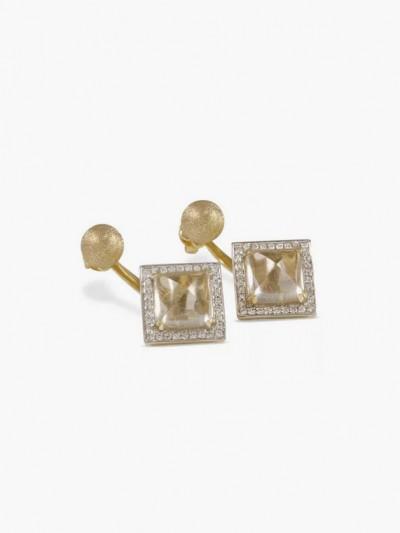 Двусторонние серьги-пирамиды из 14-каратного золота с кварцем и бриллиантами от Estenza