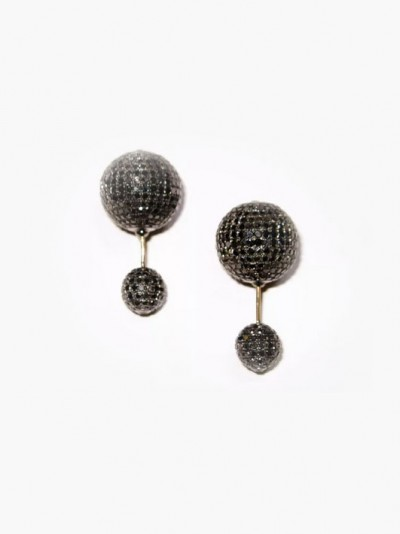 Серьги из 18-каратного золота и серебра с черными бриллиантами от United Gemco