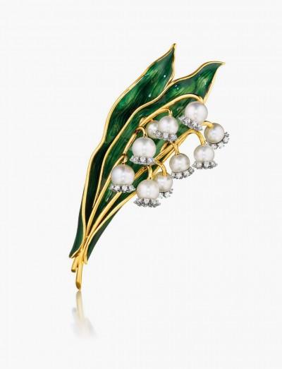 Брошь-ландыш от Verdura с жемчугом и бриллиантами, 1956 год