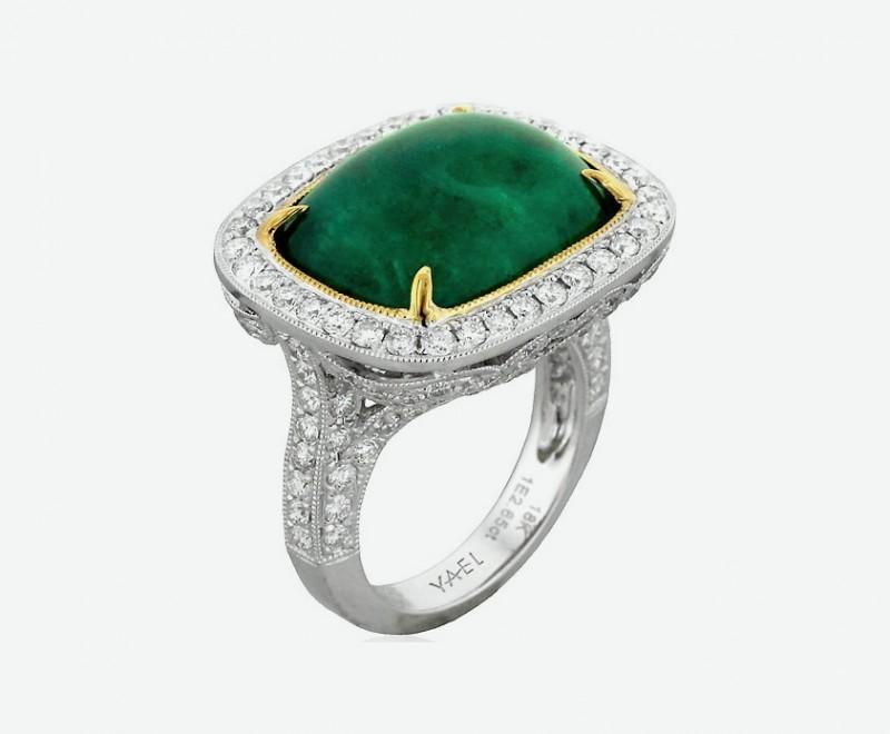 Кольцо с изумрудом и бриллиантами от Yael Designs