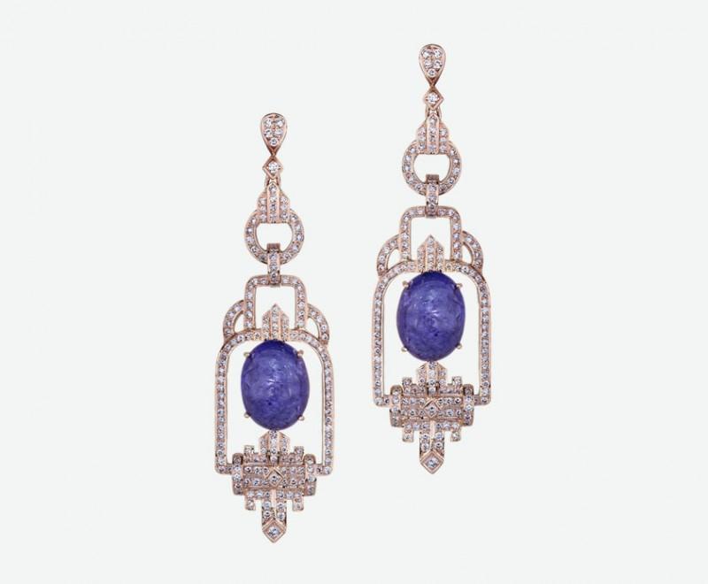 Серьги из розового золота с танзанитами и бриллиантами от Sethi Couture
