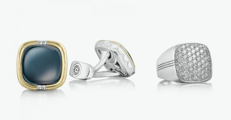 Запонки из серебра, золота с топазами. Серебряное кольцо с бриллиантами.