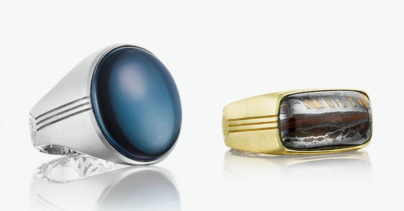 Кольцо из серебра с гематитом и отпазом. Золотое кольцо со вставкой из тигрового железа