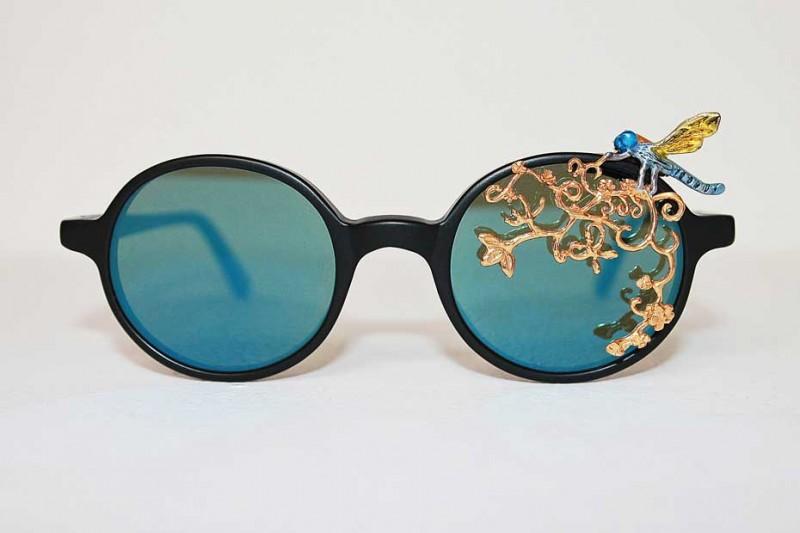 Очки со стрекозой из серебра, золота и ювелирной эмали от Авиш Хебрезадех