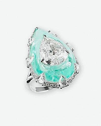 Кольцо Bogh-Art с центральным бриллиантом и турмалином параиба