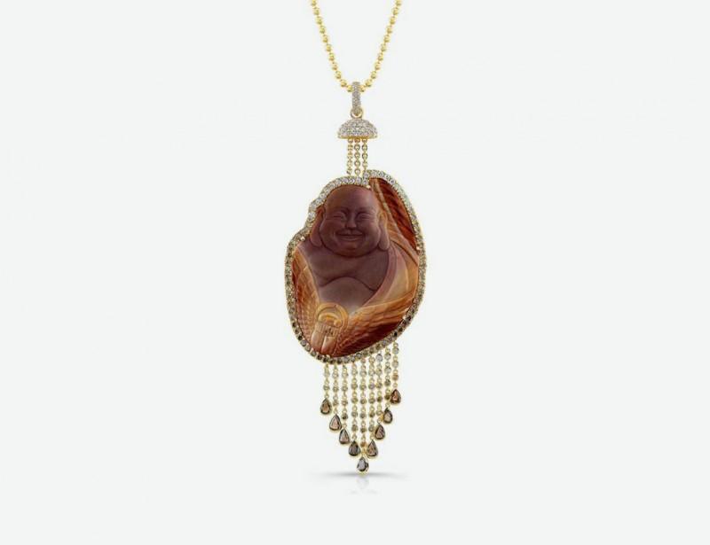 Колье с Буддой из золота с коричневыми и бесцветными бриллиантами