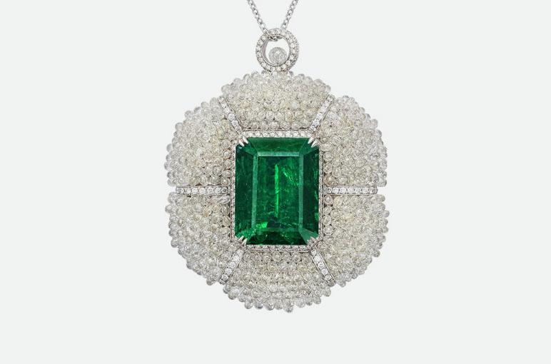 Подвеска ожерелья Begum Green с изумружлм и бриллиантами