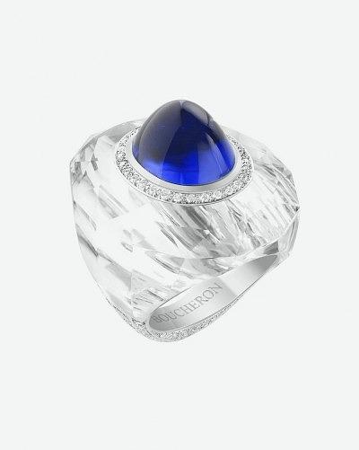 Кольцо Boucheron из горного хрусталя с сапфиром