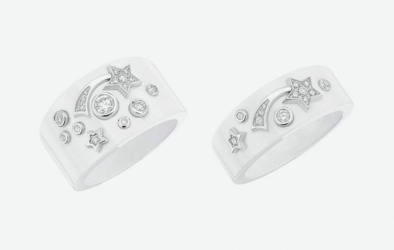 Кольца Chanel из белой керамики с белым золотом и бриллиантами