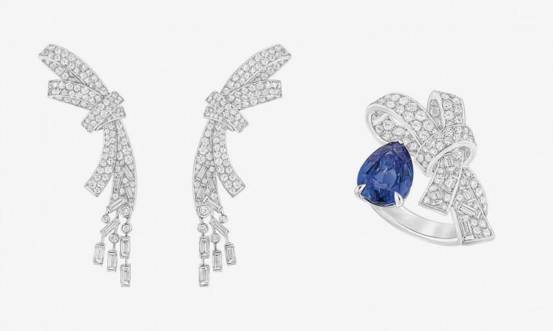 Кольцо и серьги из новой коллекции Chanel Les Intemporels: белое золото, бриллианты и сапфир. Мини-коллекция Ruban.