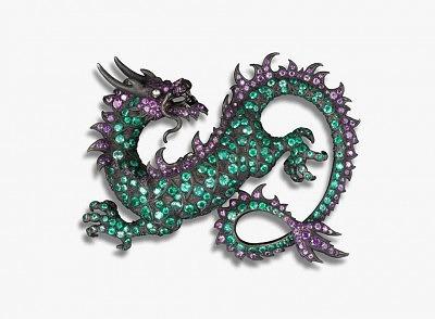 Брошь Дракон с изумрудами, аметистами и бриллиантами от Мишель Онг