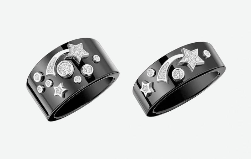 Кольца Chanel из черной керамики с белым золотом и бриллиантами