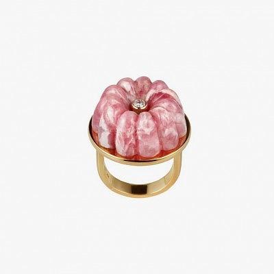 Кольцо Strawberries and Cream из золота с родохрозитом