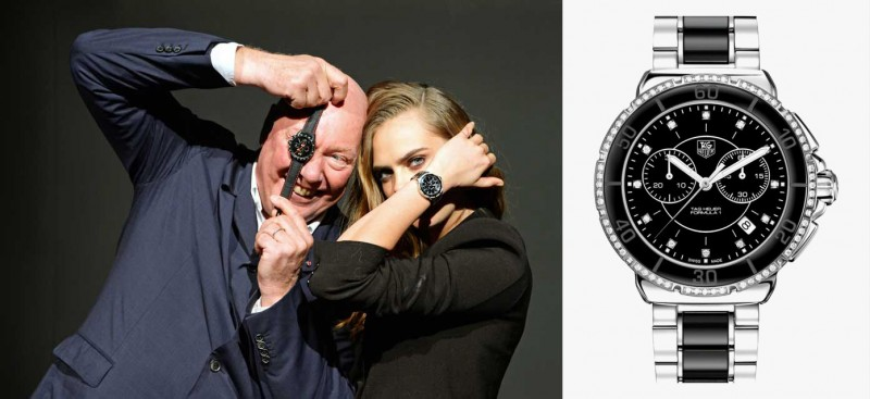 Кара Делевинь и президент LVMH Жан-Клод Бивер. На Каре хронограф TAG Heuer Formula One из стали с белой керамикой и бриллиантами.
