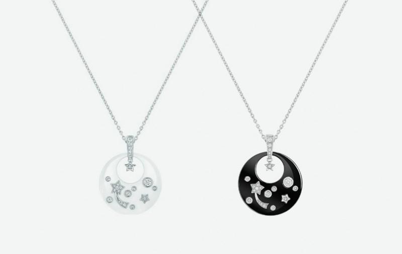 Колье Chanel с подвесками из белой и черной керамики с белым золотом и бриллиантами