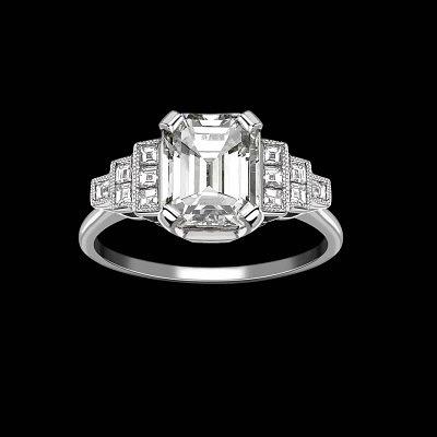 Винтажное кольцо Hattie Rickards с центральным бриллиантом изумрудной огранки