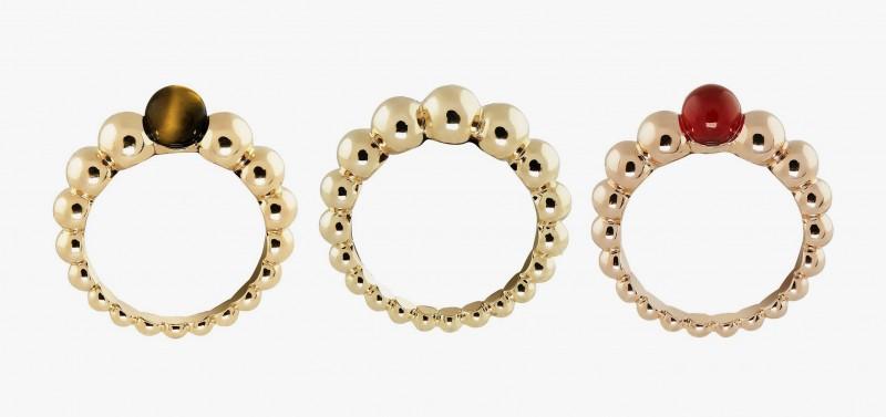 Кольца из коллекции Perlée Couleurs с сердоликом, тигровым глазом и без вставок