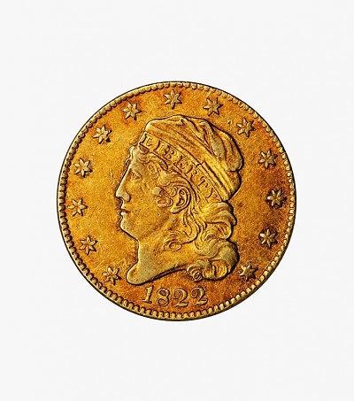 Золотая пятидолларовая 1822 года