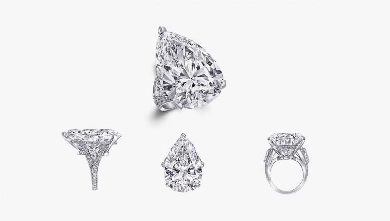 Кольцо с грушеобразным бриллиантом в 38 карат, который также превращает часы Fascination в браслет