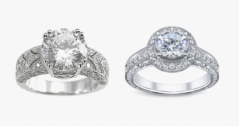Приблизительное внешнее сравнение фианита (кольцо слева) и бриллианта (кольцо справа)