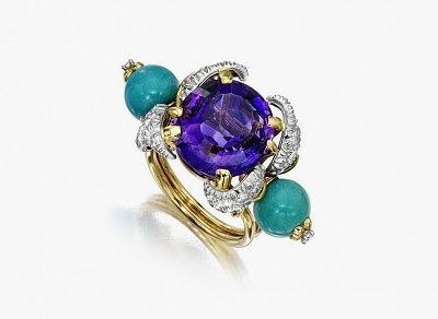 Кольцо Лорен Бэккол с аметистом, бирюзой и бриллиантами