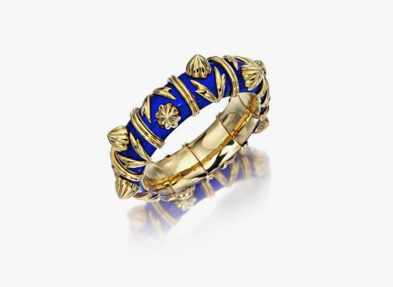 Браслет Лорен Бэккол из 18-каратного золота, покрытый ювелирной эмалью