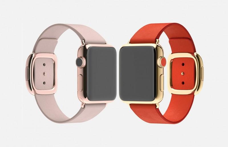 Две самых дорогих модификации Apple Watch из розового золота с серо-розовым ремешком и из желтого золота с красным ремешком.