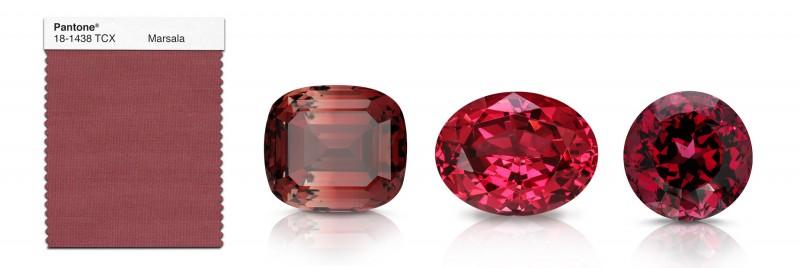 Драгоценные камни, подходящие к цвету года «марсала»: (слева направо) турмалин, шпинель, гранат.